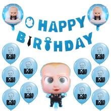 Balões de látex do bebê chefe folha ballons chá de fraldas feliz aniversário banner azul tema festa decoração meninos desenhos animados hélio globos