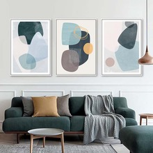Abstract Geometric Wall Art Canvas Painting Multicolored Blue Green Poster Print Scandinavian Decorative Picture for Home DEcor