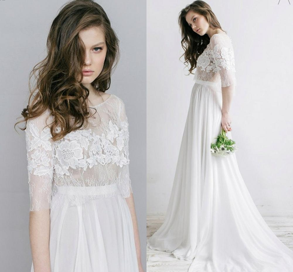 New Lace Half Sleeves Illusion Back Hippie Style Wedding Dresses Chiffon Boho Chic Rustic Bridal Gowns Vestidos De Noiva