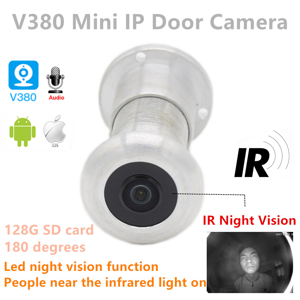 1080P P2p Audio Video 940nm Invisible Ir Night Vision Wifi Wireless Door Viewer Peephole Fisheye Camera 180degree Sd Card Slot
