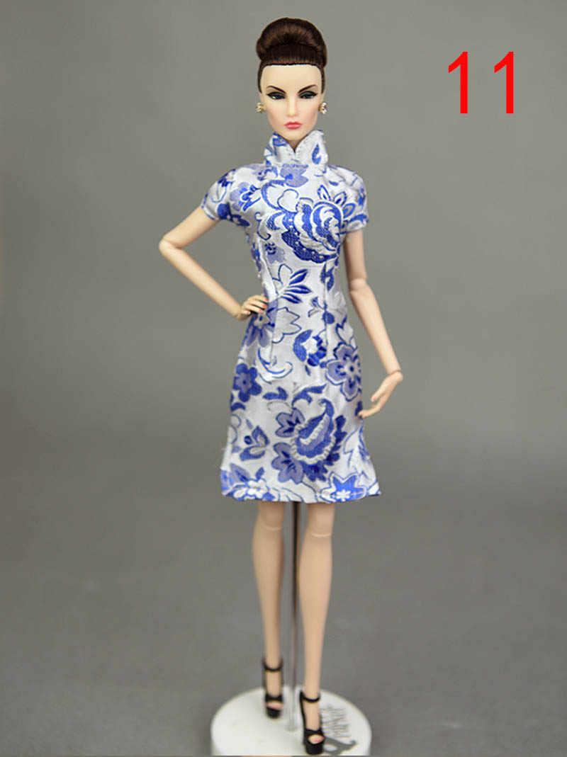 Mavi El Yapımı Çin Geleneksel Elbise Vestido Elbiseler Barbie Giysi Cheongsam Yüksek Boyun Qipao Benzersiz Akşam Elbise Oyuncak