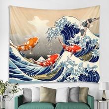 f weingartner japanische lieder op 45 Japanische Ukiyo-e Vintage Karpfen Surf Hippie Wanddekoration Wandteppich Boho-Stil Art-Deco-Wandteppich