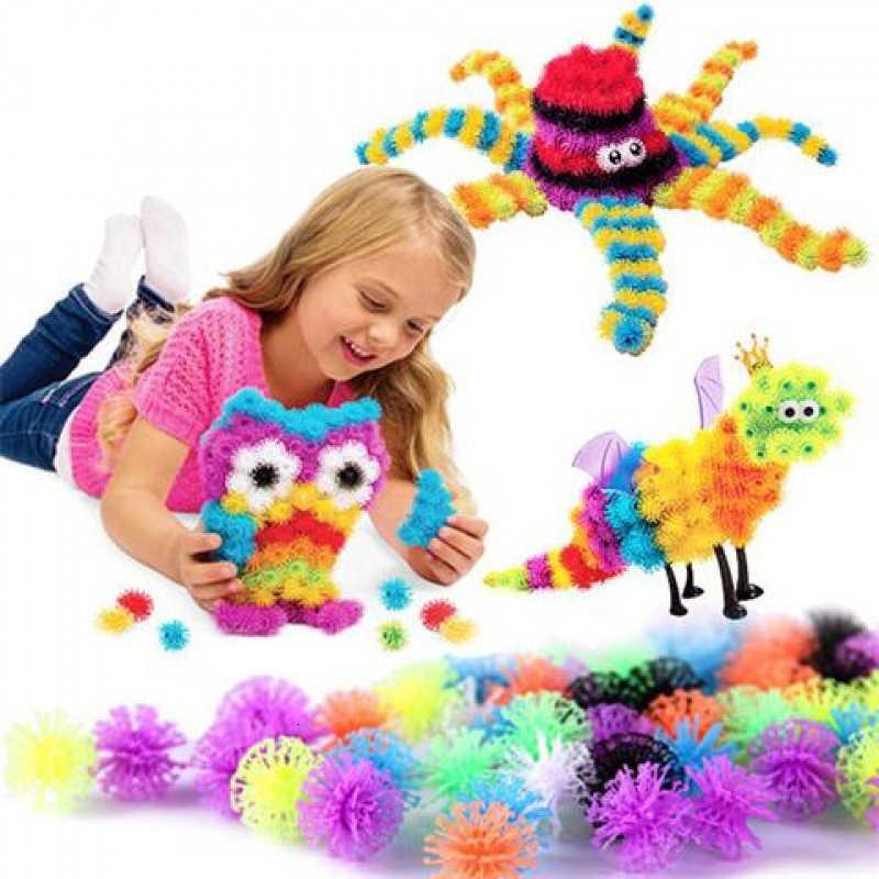 100-1200 Pcs Thorn Ball Magic Puffer Ball DIY Perakitan Mainan 3D Model Konstruksi Bangunan Blok Mainan untuk Anak hadiah