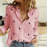 Elsvios 2xl senhoras com decote em v floral impressão outono blusa feminina camisa 2019 botão casual manga comprida streetwear tops blusas femininas