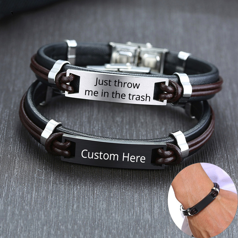 Men Bracelets with Personalize Engrave Service Stylish Black Genuine Leather Stainless Steel ID Bangle Custom Gifts for Him