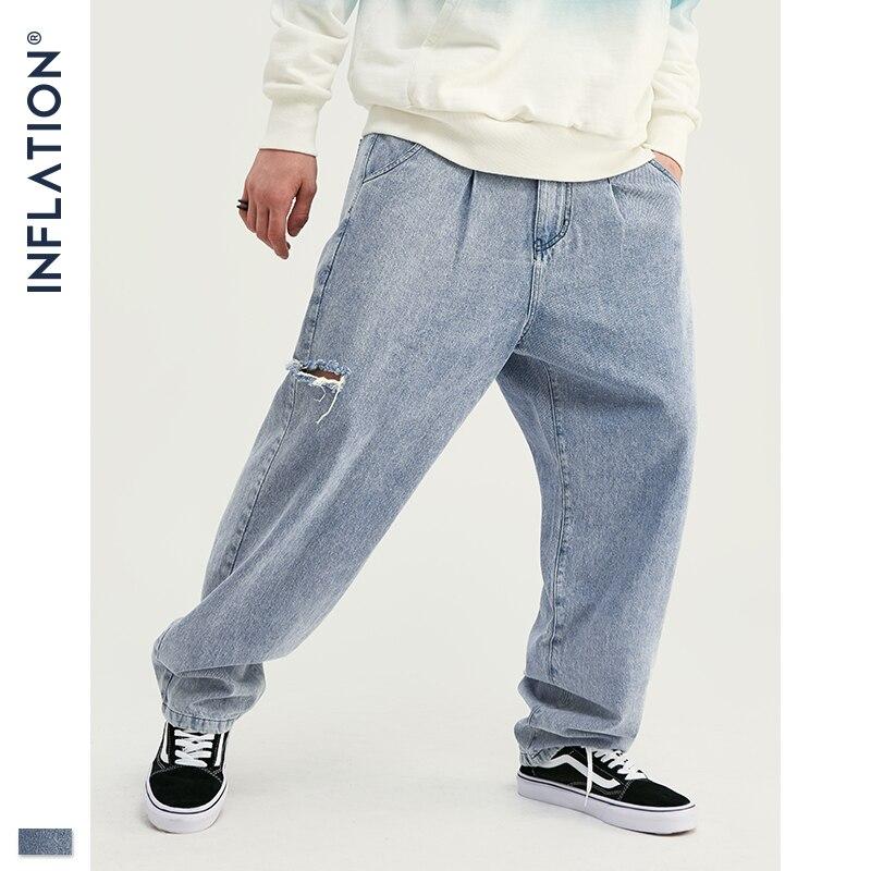 INFLATION 2019 Autumn New Arrival Jeans Men Fashion Streetwear Jeans Men Loose Straight Denim Men Jeans Pants 93355W