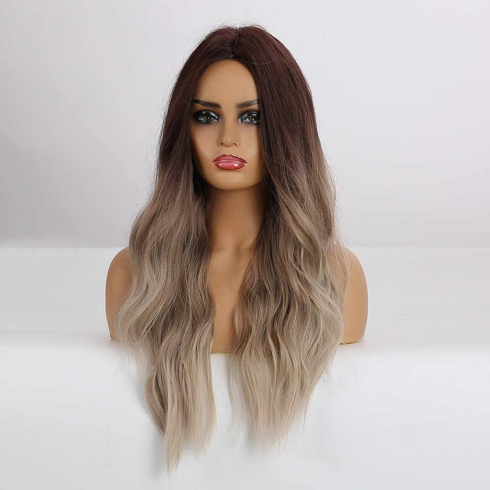 LOUIS FERRE Gelombang Alami Wig Ombre Hitam Coklat Abu-abu Beige Rambut Wig Sintetis Wig Panjang untuk Wanita Bagian Tengah Panas serat Tahan