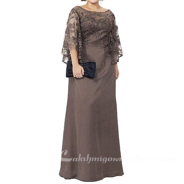 Blue Lace Top Plus Size Mother of the Bride Dress 5