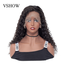 VSHOW 13x4 Brazilian Deep Wave Lace Front Wig With Baby Hair Natural Black 150%-180% Density 13x6 Remy Human Wigs