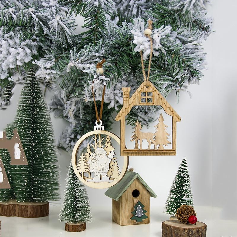 Navidad Natural Christmas Home Wooden Ornaments Pendants