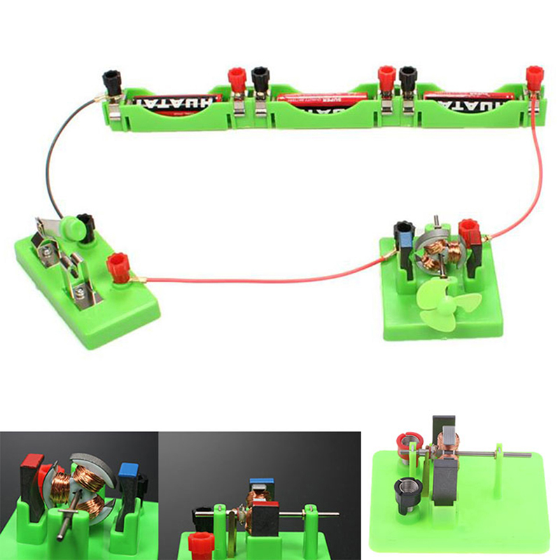 1pc Physics Study Aids Physical Optical Experiment Instrument Dc Motor Model School Circuit Direct-current Motor Model With Fan