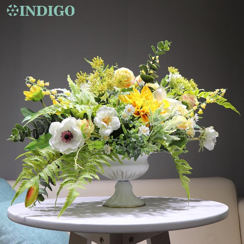 INDIGO conçu-1 ensemble chrysanthème jaune Arrangement de fleurs artificielles bonsaï Bouquet pièce maîtresse cadeau livraison gratuite