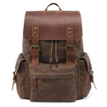 Large Canvas Backpack School Bag Outdoor Travel Rucksack,Vintage  Satchel Shoulder Bag
