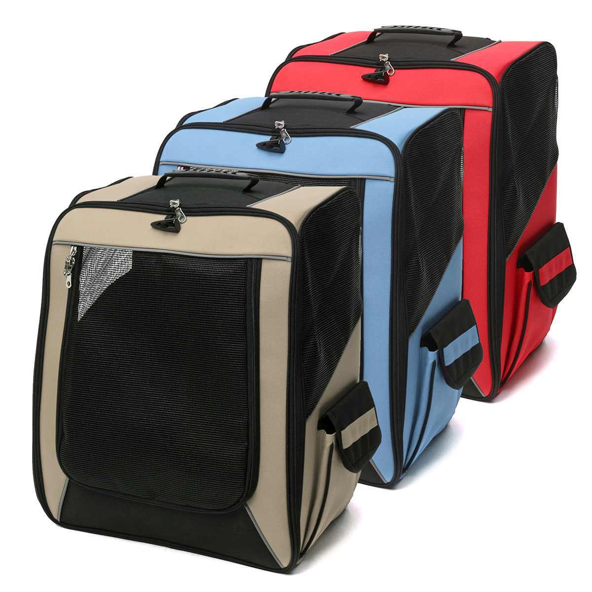 Dog Stroller Carrier Pet Travelling Dog Pet Knapsack Walking Suitcase Trolley Four-wheeled Breathable Carry Cart Draw-bar Box
