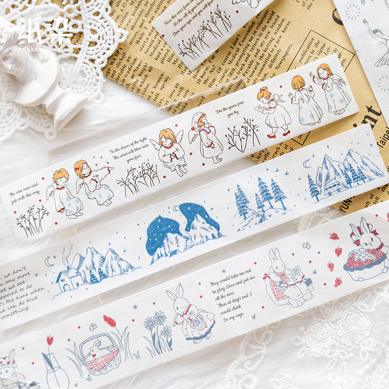 1 Pc Simple Line Drawing Washi Tape Black And White Swan Mountain Rabbit Special Decoration For DIY Scrapbooking Bullet Journal