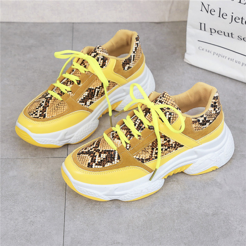 New 2020 Autumn Snakeskin Pattern Chunky Sneakers Platform Casual Shoes Sneakers Women Shoes Trainers Basket Chaussure Femme
