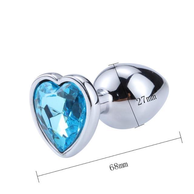 Size Plug anal diamond metal heart blue
