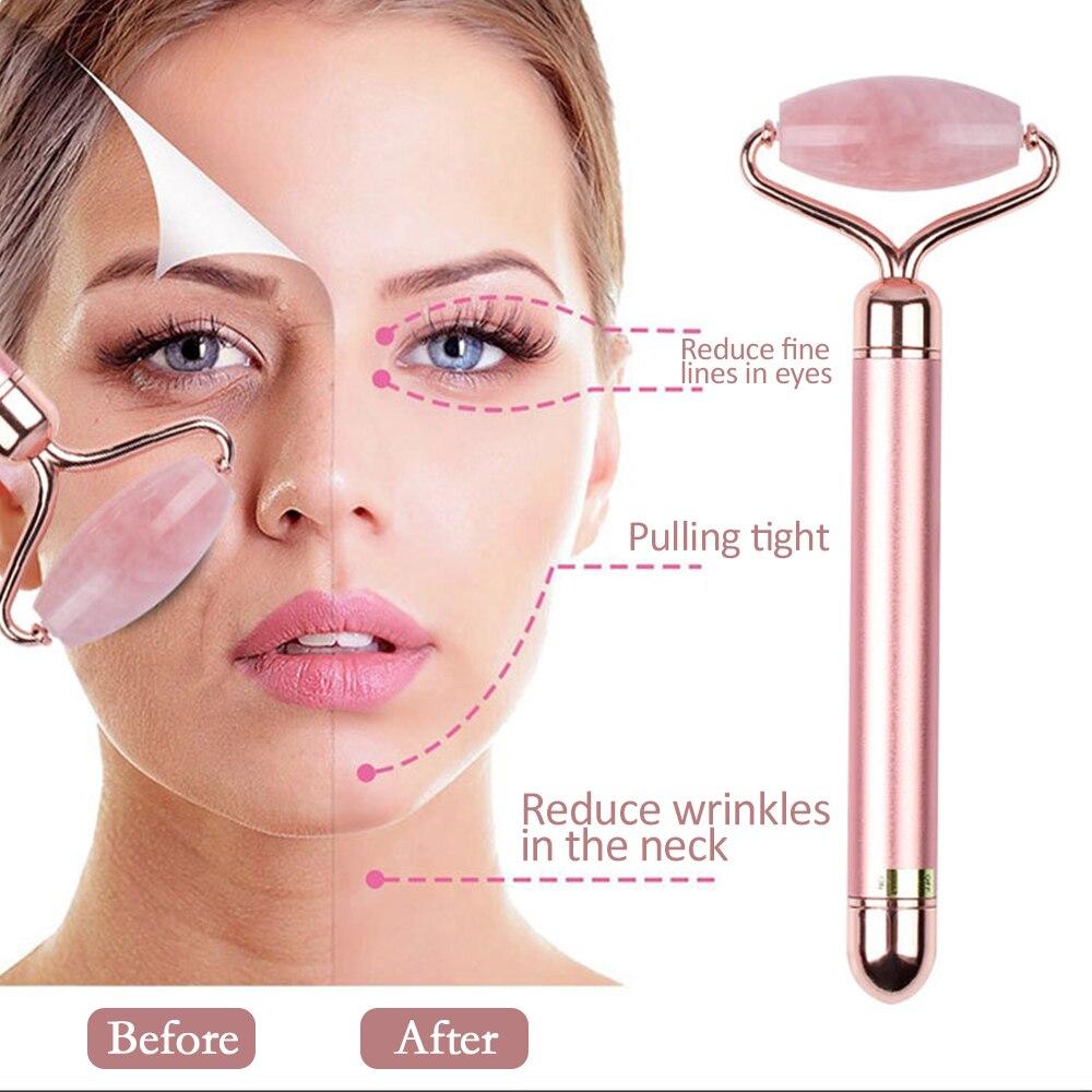 Elektrische Natürliche Rose Quarz Jade Roller Gesicht Dünne Patch Heben Echte Grüne Jade Stein Gesichts Roller Schönheit Massage Werkzeug