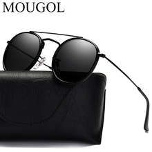 MOUGOL 2019 new Luxury Women Sunglasses Men Oval Polarized Mirror Lens Sun Glasses Alloy Twin Beam Retro Shades  UV400