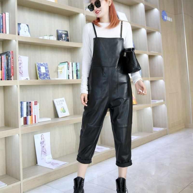 ฤดูใบไม้ร่วงสตรี Casual SLING หนัง Jumpsuit สำหรับผู้หญิง PLUS ขนาดข้อเท้าความยาวกางเกงหลวม Fit สีดำของแท้ Sheepskin Jumpsuits