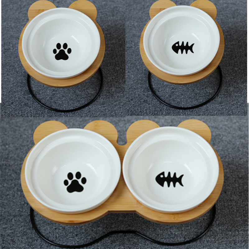 New High-end Pet Bowl Bamboo Shelf Ceramic Feeding And Drinking Bowls For Dogs Cats Pet Feeder Accessories Pets Products