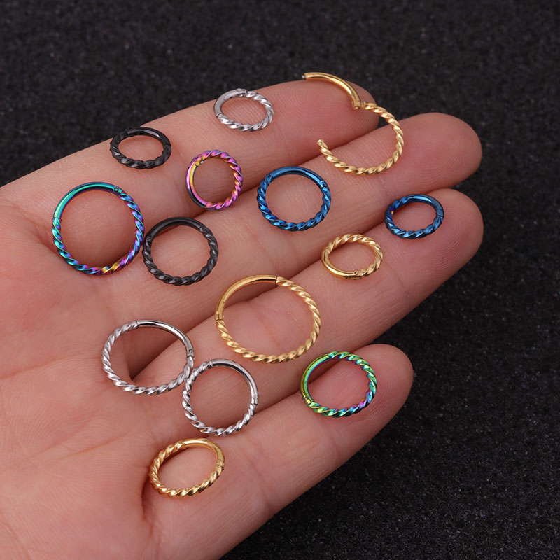 316L Hinged Segment Clicker 16g Hoop 8mm Twisted Lace Ring Ear Nose Piercing 1pc