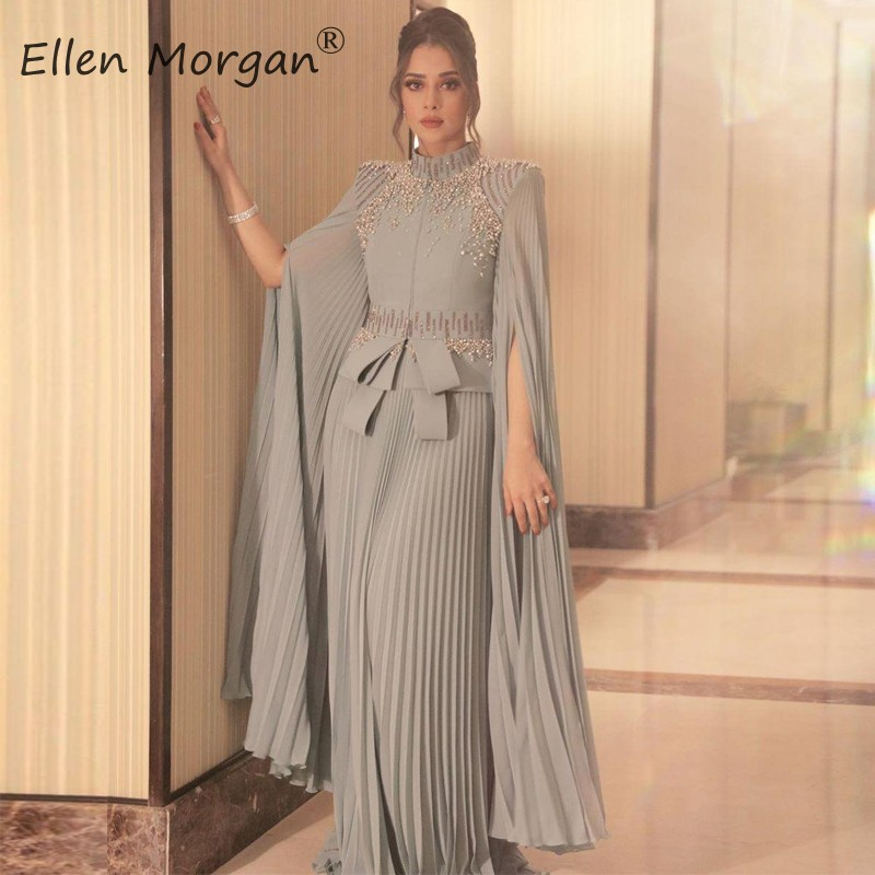 Arabic Muslim Silver Chiffon Long Evening Dresses 2020 Special Occasion Events High Neck Ruffles Formal Gowns For Women Wear