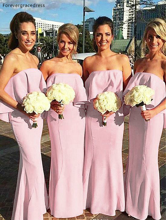 Cheap Boho Summer Chiffon Bridesmaid Dress Strapless Long Garden Formal Wedding Party Guest Maid Of Honor Gown Plus Size