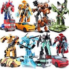 Top Sale 19cm Big Plastic Educational Transformation Robot Action Figure Collect For Children Boys Deformation Car Model Gift