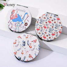 Vicney Make Up Round Flamingo Mirror Girls Mini Cute Double Side Folding Portable Pu Leather High Quality
