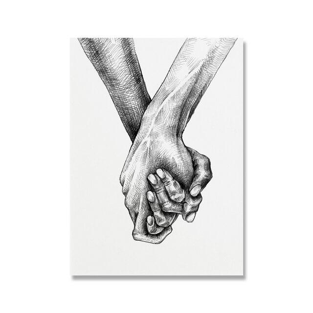 """Cuadro en Lienzo en Blanco y Negro Always Kiss me Goodnight You Me///P/óster de Arte de Pared Imagen de Moda Parejas Amante Decoraci/ón de la habitaci/ón Sin Marco 16 /""""x20/"""" 40x50cm"""
