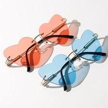 SO & EI-gafas De Sol con forma De corazón para mujer, anteojos De Sol femeninos con forma De corazón, sin marco, estilo Retro, gafas únicas, con protección UV400