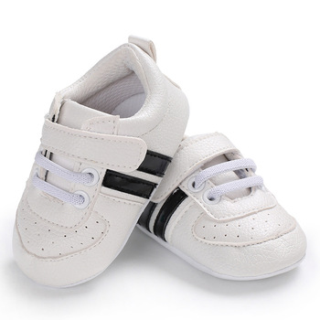 2020 Baby Shoes Newborn Boys Girls Two Striped First Walkers Kids Toddlers Lace Up PU Leather Soft Soles Sneakers 0-18 Months - 08, 13-18 Months