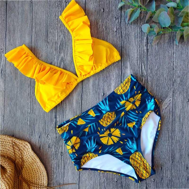 Sexy Vintage High Waist Bikini 2020 Women Swimsuit Two Piece Ruffle Swimwear Bikini Set Plus Size Bathing Suits Summer XXL
