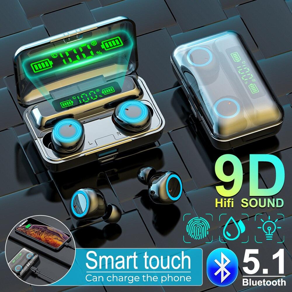 5,1 TWS Bluetooth-наушники; Беспроводная зарядная коробка; Беспроводные наушники; 9D стерео; Спортивные водонепроницаемые наушники; Гарнитура с мик...