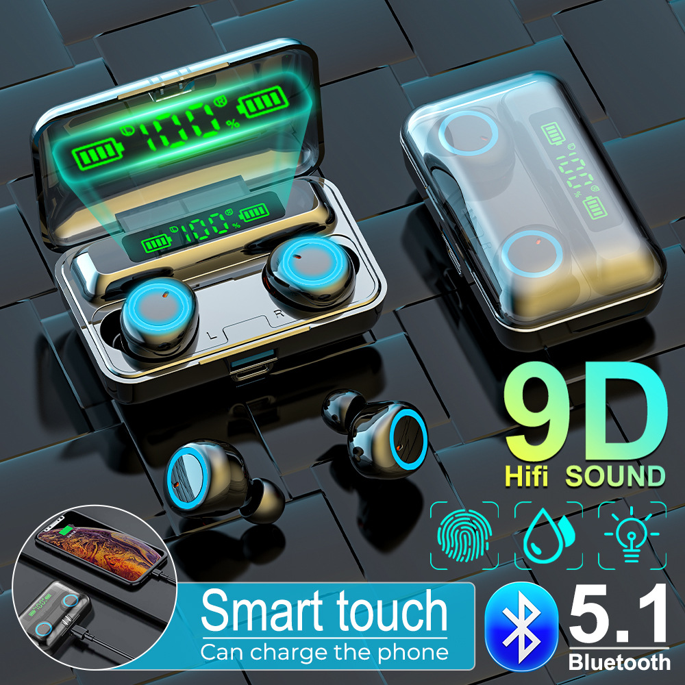 TWS Bluetooth 5.1 Earphones 2800mAh Charging Box Wireless Headphone 9D Stereo Sports Waterproof Earbuds Headsets With Microphone
