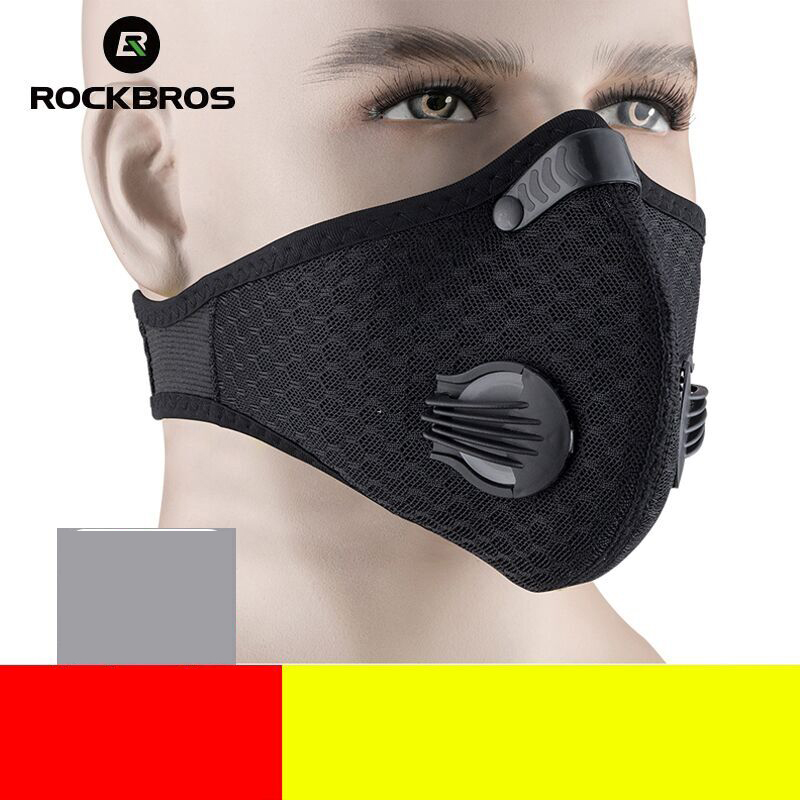 ROCKBROS Cycling Mask KN95 Bike Active Carbon With Filter Dust Mask Breathing Valve Anti-Pollution Running Protective Face Mask
