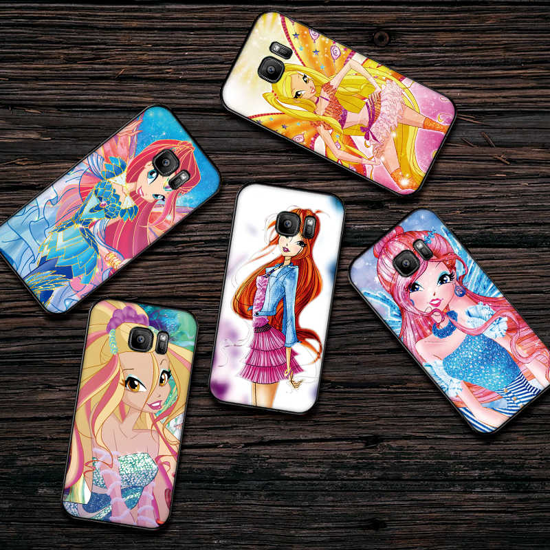 Luxe Black Case Voor Samsung Galaxy S6 S7 Rand S8 S9 S10 PLUS NOTE 8 9 M10 20 30 Cover winx
