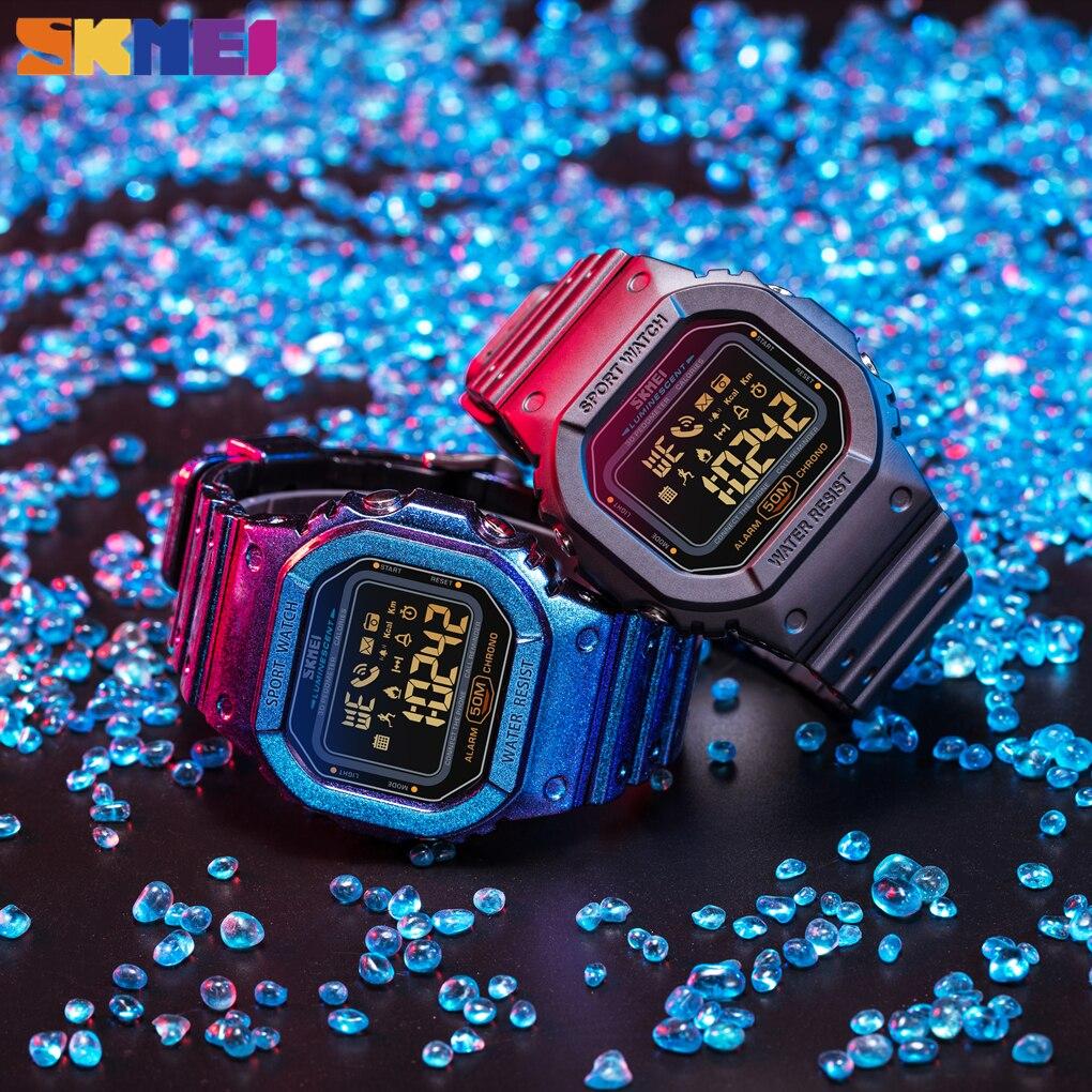 SKMEI Smartwatch Men Bluetooth Electronic Watches Mens Pedometer Calorie Tracker For Huawei Iphone Reloj Inteligente Sport 1629