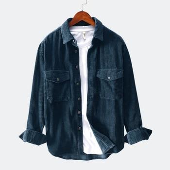 Men Shirts 2021 Spring Autumn Fashion Brand Japan Style Slim Fit Vintage Corduroy Shirt Male Casual Loose Long Sleeve Shirt Tops 1