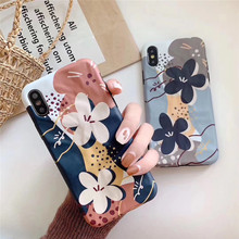 Vintage oil painting flower phone case For iphone XS MAX XR X 6 6s 7 8plus painted soft shell TPU back cover capa