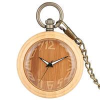 Bamboo Pocket Watch FOB Irregular Number Open Face Wooden Chain Watch Luminous Pendant Watch 2019 reloj de bolsillo hombre