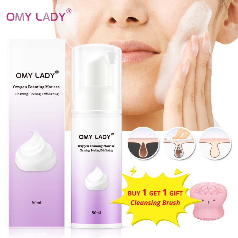 OMY LADY Oxygen Foaming Mousse Deep Cleansing Face Cleanser Moisturizing Oil Control Shrink Pores Remove Blackhead Face Cleanser