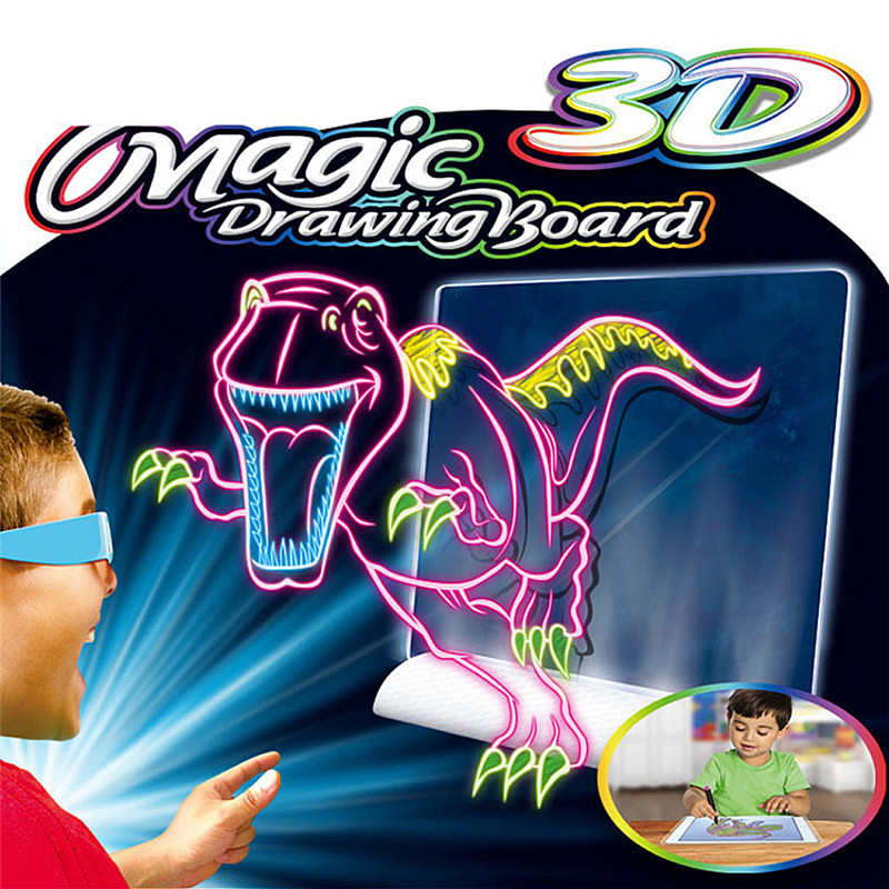 3D Magic Drawing Tablet Light Glow Pad Writing Board Kids Toy Erasable Doodle Sketch ToyVelt Light up Tracing Pad For Kids