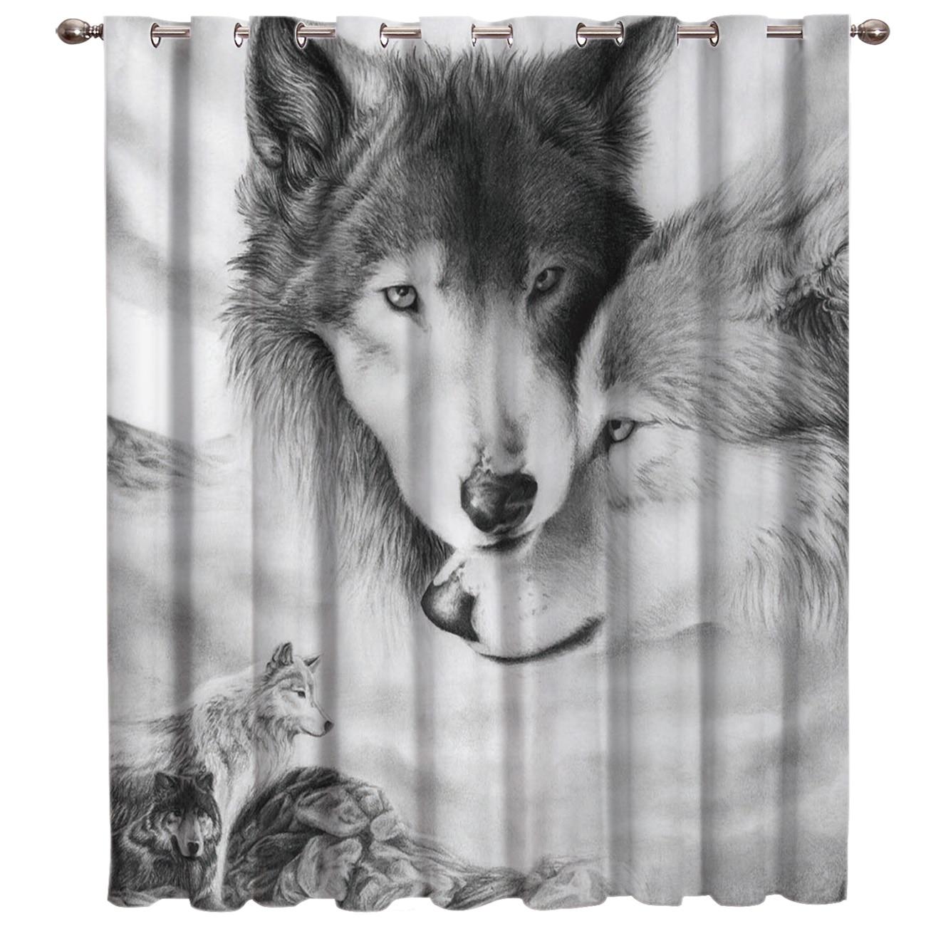 Wolf Love Black And White Window Treatments Curtains Valance Bedroom Decor Kids Window Treatment Hardware Sets Window Treatment