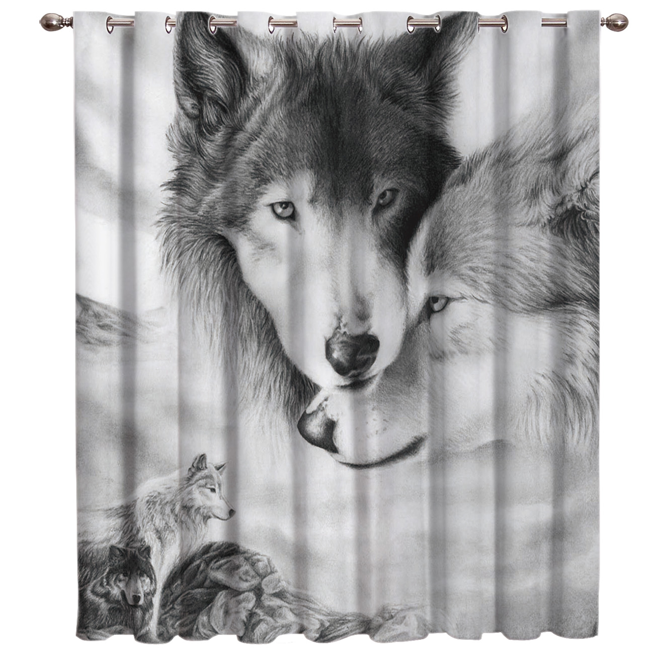 Wolf Love Black And White Window Treatments Curtains Valance Bedroom Decor Kids Window Treatment Hardware Sets Window Treatment