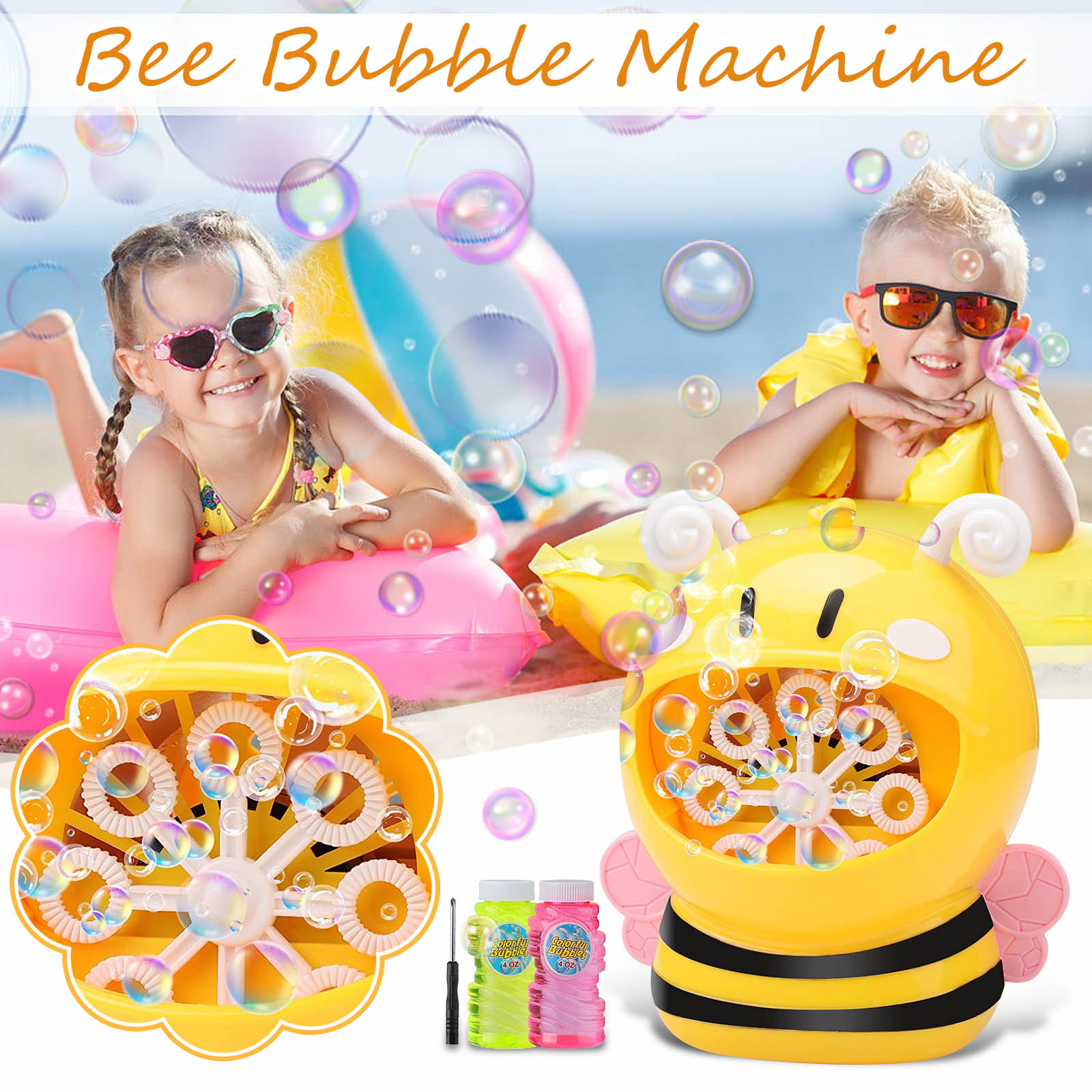 Outdoor Bee Machine Crabs&Frog Music Kids Bath Toy Bathtub Soap Automatic Bubble Maker Baby Bathroom Toy for Children