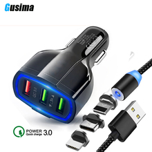 QC 3.0 3 USB Car Charger Quick Charge 3-Ports Fast for Phone Charging Adapter with Magnetic cable iphone