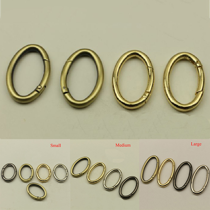 2PCS Metal Gate Spring Round/Oval Ring Buckles Clips Carabiner Purses Handbag Accessories Durable Oval Push Trigger Snap Hooks