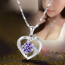 New Luxury Crystal CZ Heart Pendant Choker Necklace 925 Sterling Silver Chain Necklaces For Women Wedding Jewelry Gifts(China)